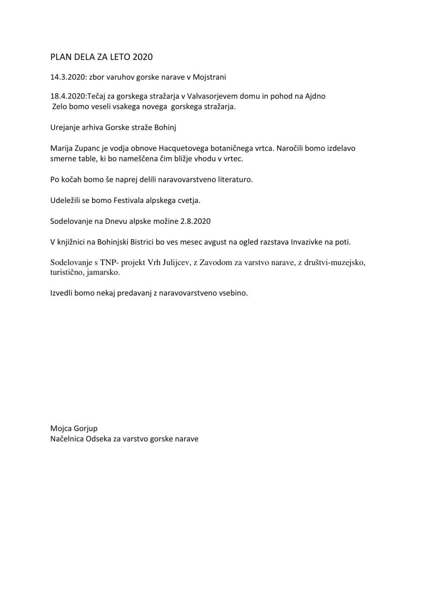 poročilo 2019 - odsek zavarstvo gorske narave,plan 2020-2